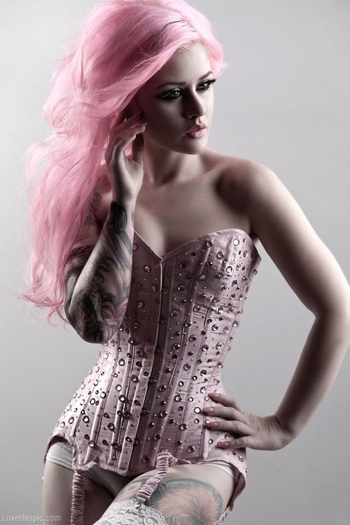 A Vision in Pink fashion hair pink pretty pastel soft model teddy dye garter stockings colorful hair pink hair