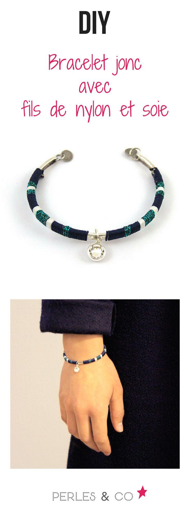 Réaliser ce bracelet jonc très tendance en suivant le tutoriel simple et rapide de Perles and co. #tutoriel #tuto #bracelet #jonc #diy #tendance #bijou