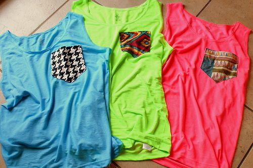 Yess: Diy Ideas, Pockets Tees, Tees Shirts, Neon Green, Blue Green, Tanks Tops, Pockets Shirts, Beaches Shirts, Diy Projects