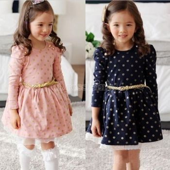 New Stylish Child Girls Clothes Buttons Princess Dress With Belt Ages 3 - 11Y