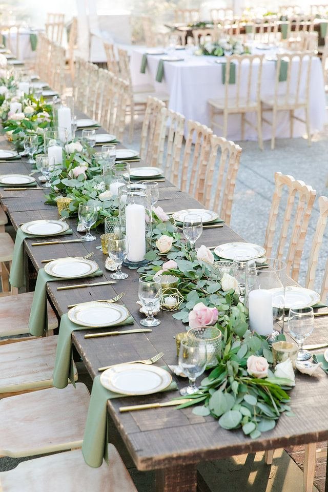 Floral Runner On Wooden Table With Gold Chairs Dana Cubbage Weddings Charlest Unique Wedding Table Decorations Wedding Table Plan Wedding Table Decorations