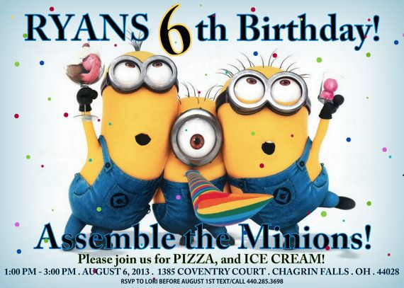 5x7 Despicable Me Invitation FREE goodie bag labels and minion - free birthday invitations to print
