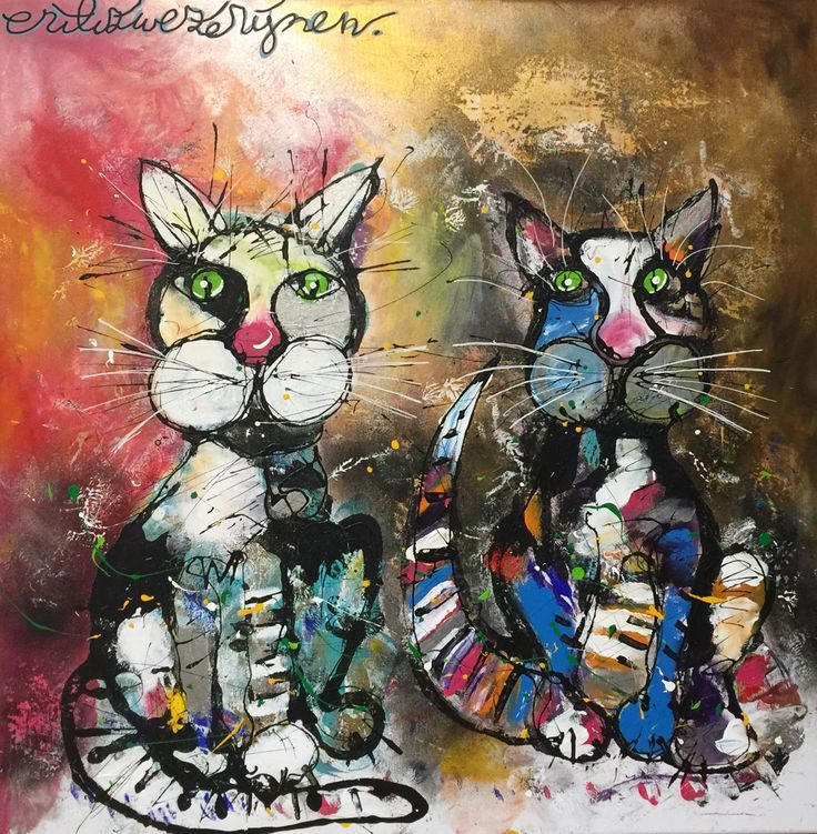 """""""Me & Jouw"""" this Valentines couple is 80 x 80 cm. And they are filled with gold and silver paint! Are you ready for Valentines day?  #artist #zwezerijnen #valentine #love #dutch #art #cat"""