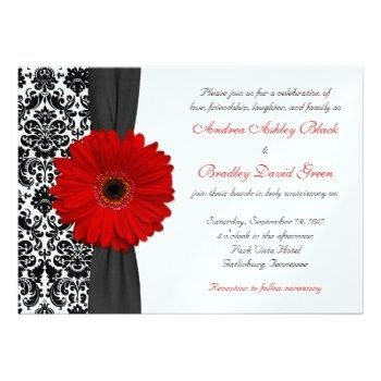13 best invites images on pinterest black wedding invitations custom gerber daisy red black white damask wedding personalized invites created by wasootch this invitation design is available on many paper types and is stopboris Images