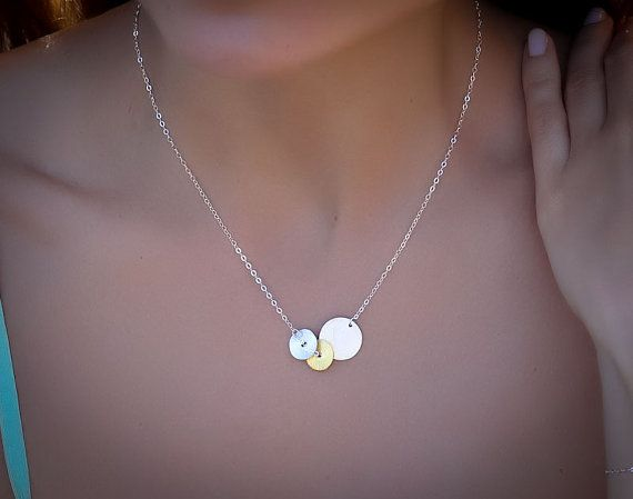 Disc silver necklace disc necklace brushed gold by OlizzJewelry, $23.90