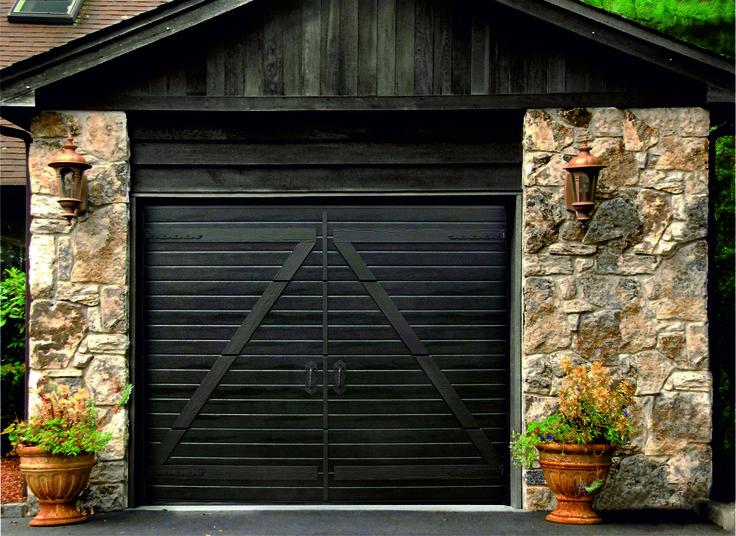 A retro-styled door by Ryterna overlaid on a modern sectional overhead door