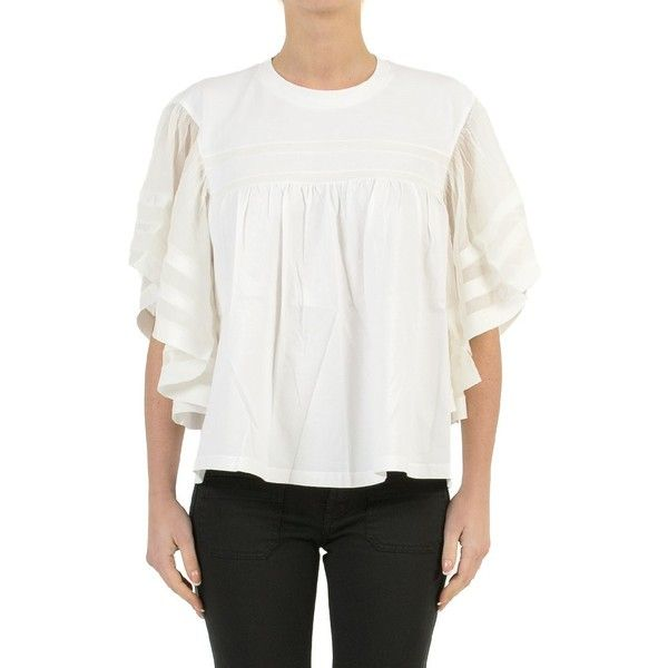 Chloe Cotton Jersey and Silk Crepon T-Shirt (570 CAD) ❤ liked on Polyvore featuring tops, t-shirts, bianco, white silk top, white top, silk tee, white silk t shirt and cotton jersey t shirt