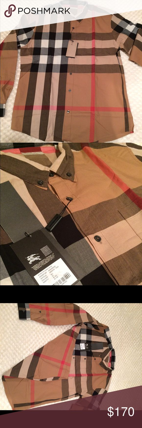 New burberry shirt for men New with tags burberry shirt  long sleeves 100% cotton Burberry Tops Button Down Shirts