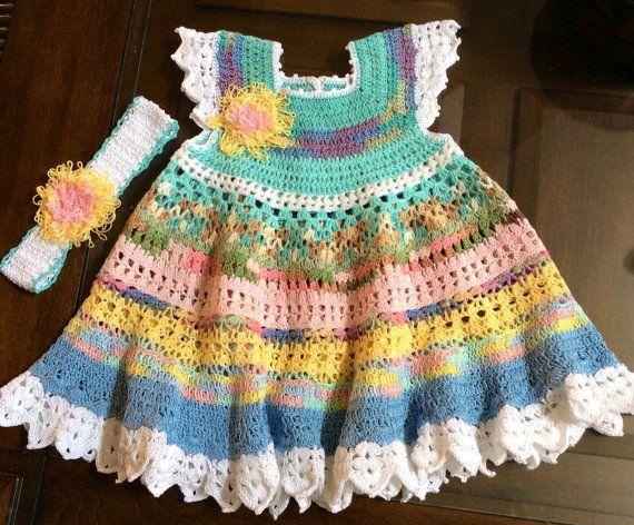 Hand crochet multi colored little girls dress and headband on Etsy, $50.00