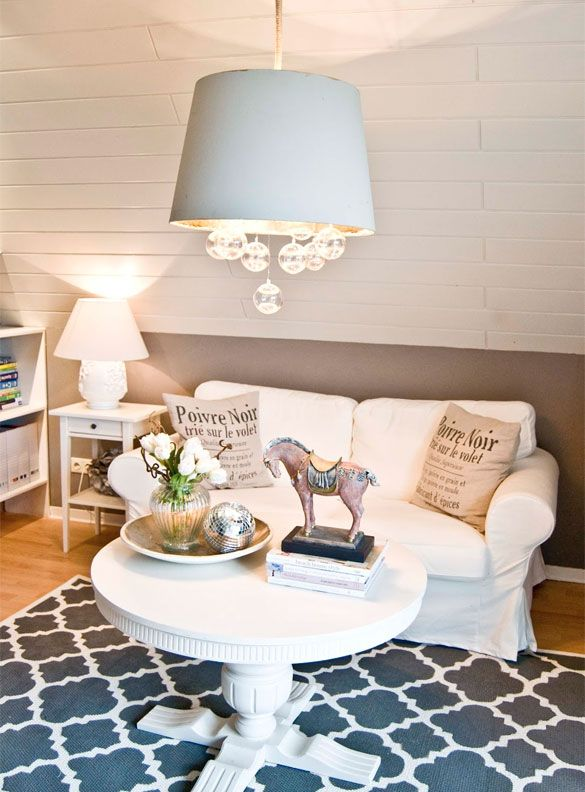 Wood Paneled Den: Attic Den With Painted Wood Paneling And DIY Lattice