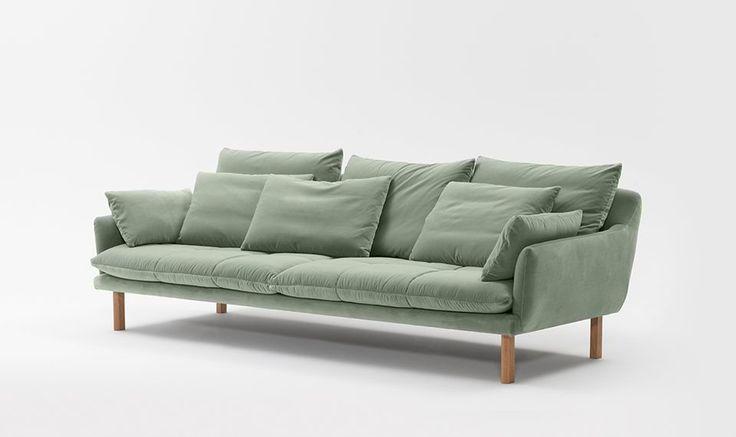 JARDAN 'Andy' sofa upholstered in Elk velvet, colour Alpine. Legs in Tasmanian Oak with an oil finish in Natural