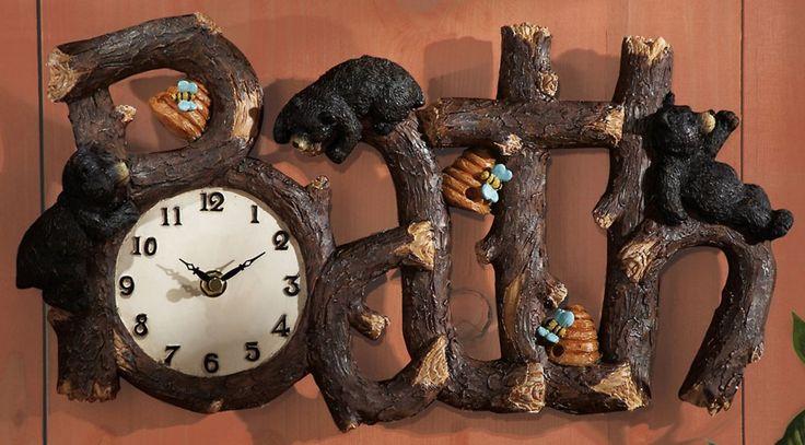 country bathroom wall clocks