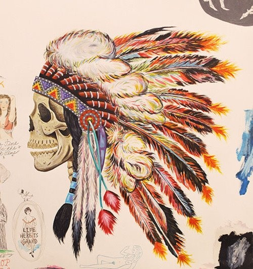 Tattoo Flash Wallpaper By Feathr: Skull And Headdress Drawing