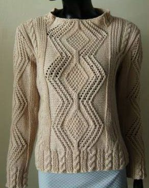 Aran Style Pullover Free Knitting Pattern
