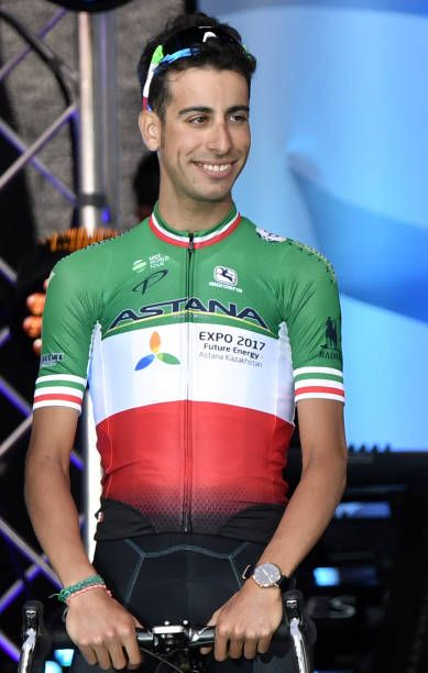 Italy's Fabio Aru stands on stage during the team presentation ceremony in Dusseldorf Germany on June 29 two days before the start of the 104th...