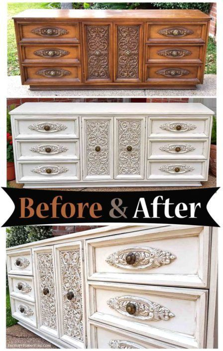 Distressed Off White Ornate Dresser Before After