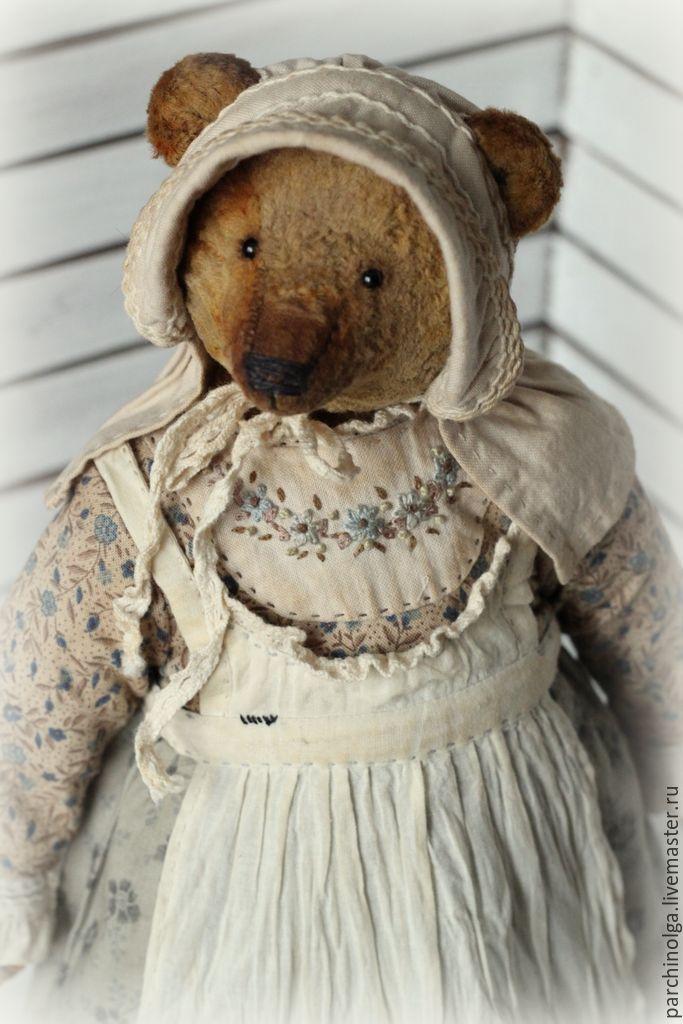 Купить Тётушка Аполлинария - бежевый, мишка, мишка ручной работы, мишка тедди, тедди