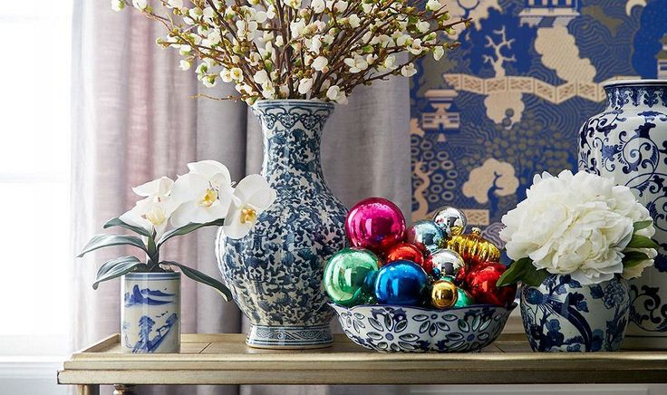 There's no easier way to add a dash of Christmas cheer to a console or side table than with a bowl of colorful sphere ornaments.