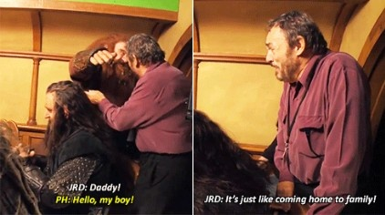 John Rhys-Davies visits the set of the Hobbit