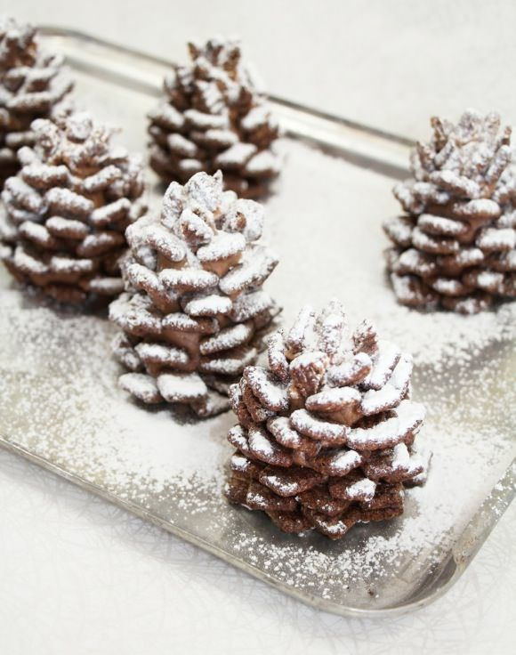 Snowy Chocolate Pinecones (made from nutella and cereal-- no bake recipe) for Holiday Party
