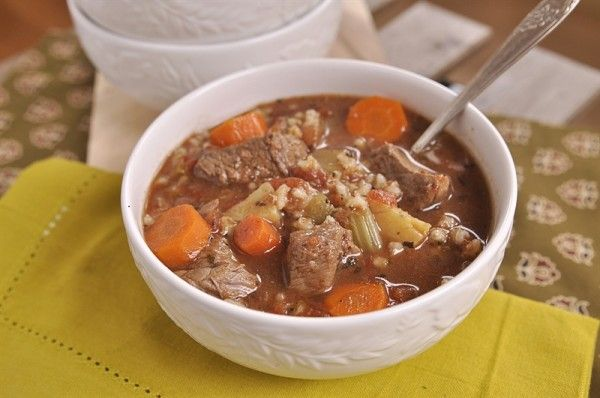 Beef & Barley Soup. I'd skip the montreal steak seasoning and might ...