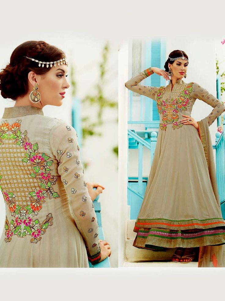 Glamorous grey color double layered georgette anarkali with floral embroidery work.  Item Code: SLANA715 http://www.bharatplaza.com/new-arrivals/salwar-kameez.html