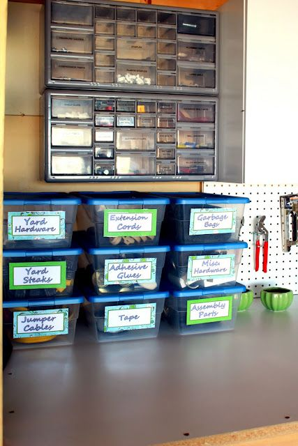 """Plastic shoeboxes for all that """"stuff"""" that's laying around on the workbench.  Clear boxes so you can see it.  Clearly written labels so you know what you're looking at.Iheart Organic, Garages Organic, Garage Organization, Organic Garages, Features Spaces, Outdoor, Plastic Container, Storage Container, Garages Storage"""