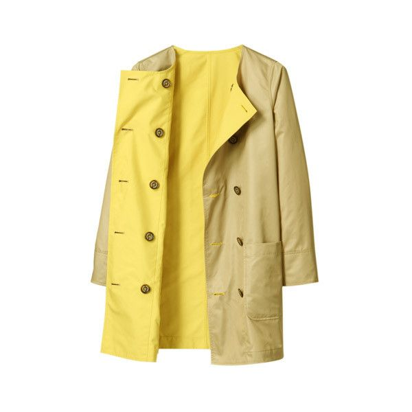 MACKINTOSH PHILOSOPHY リバーシブル ノーカラーコート (£220) ❤ liked on Polyvore featuring outerwear, coats, jackets y yellow coat
