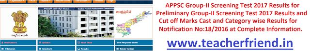 APPSC Group-2 Screening Test 2017/Preliminary Group-II Screening Test 2017 Results/Cut off Marks Cast and Category wise Results for Notific...