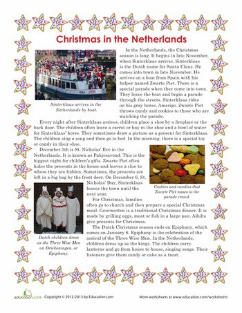 Worksheets: Christmas in the Netherlands