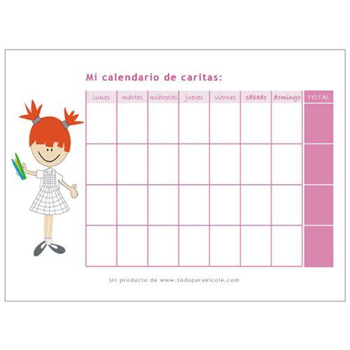 Pizarra calendario caritas - Calendario comportamiento niños