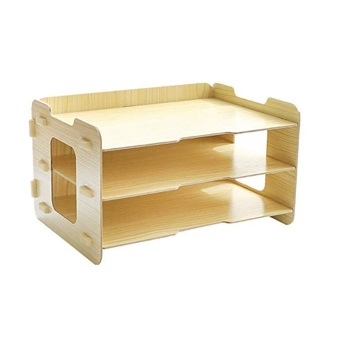 Omooly Diy 3 Tier Wood Desktop Letter Books Tray Storage Organizer Paper Stacking Trays Filing Organizer Desk Organizer Tray Paper Tray Letter Sorter Paper File Desk Organization Desk Organizer Tray Paper Organization