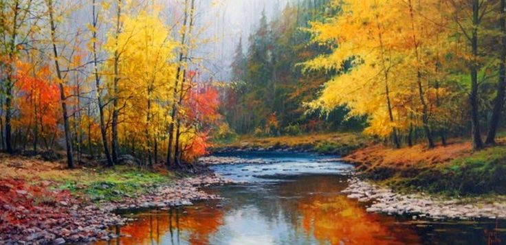 Pinturas tem ticas paisajes horizontales cuadros for Cuadros pintados al oleo
