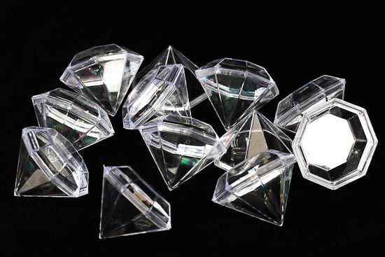 Package of 12 Clear Acrylic Diamond Favor Boxes..these are kinda cool !!  $6.98