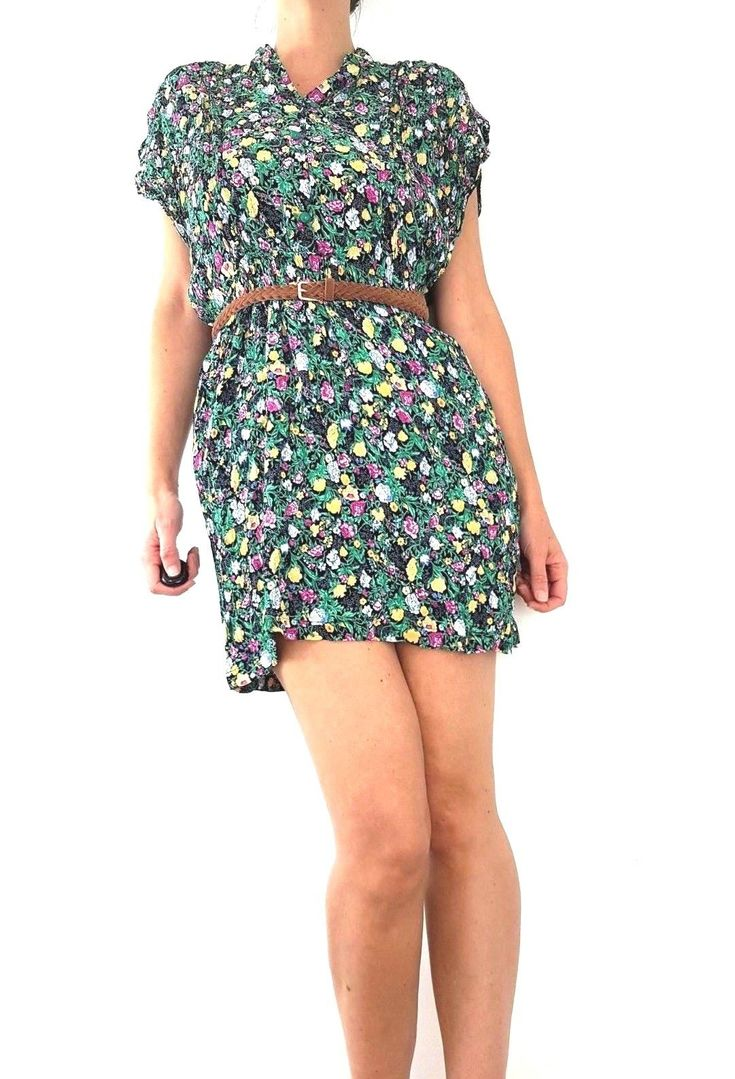 $ 19.60 | Vintage Dress 10 12 Ditsy Floral Print 80s 90s Tunic Retro Grunge Bohe…