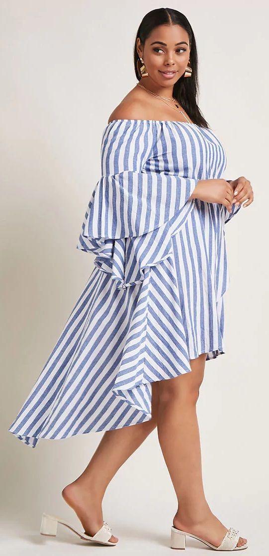 Plus Size High-Low Striped Dress