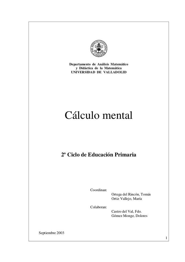 CÁLCULO MENTAL 2º CICLO COMPLETO  - Universidad de Valladolid