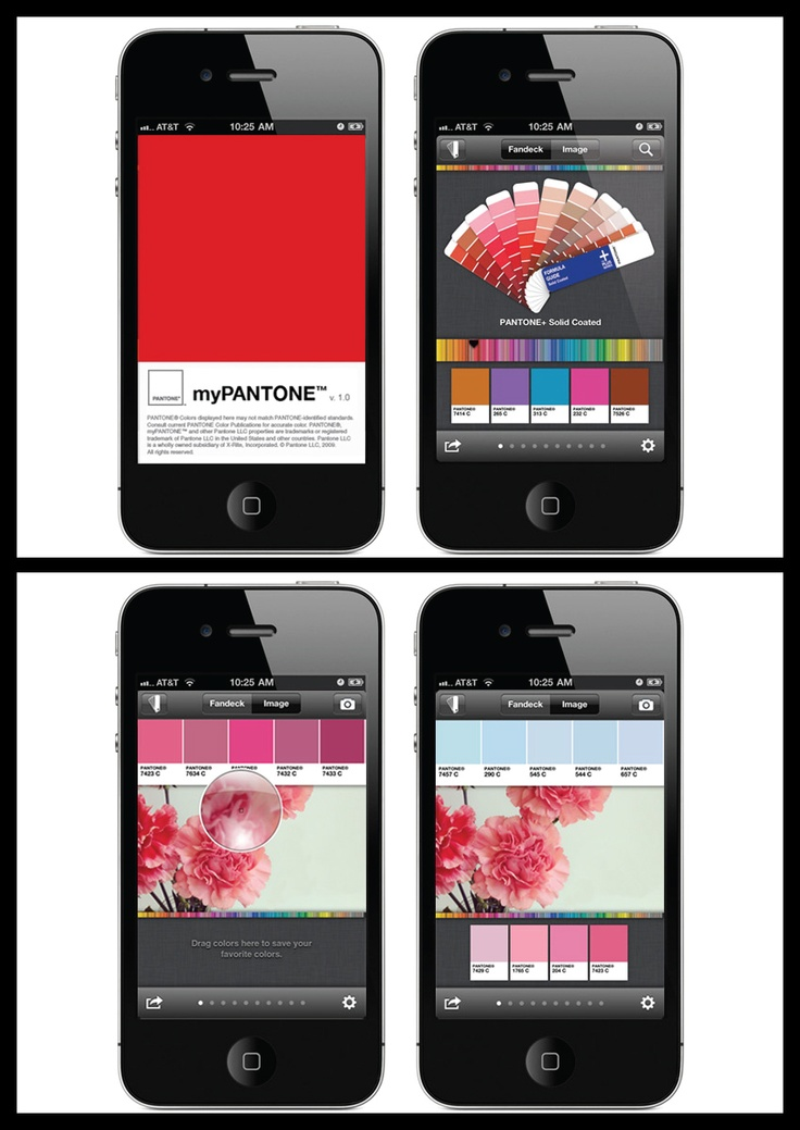 My Pantone iPhone App - will even capture colors from pictures on your  phone and then create harmonious color palettes. I'd love to have the  Pantone library ...