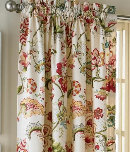 Jacobean Floral Lined Rod Pocket Curtains - Pair