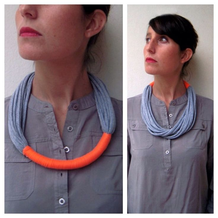 Light, cool and very soft necklace made with two jersey fabrics, one grey color and the other neon orange.