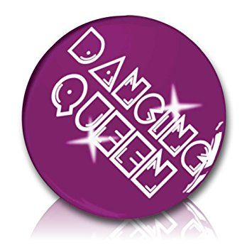 "Custom & Novelty {1"" Inch} 1 Single Piece, Small Size Button Pin-Back Badge for Unique Clothing Accents, Made of Rust-Proof Metal w/ ""Dancing Queen"" Retro 70's Disco Music Lettering Style [White & Purple]"