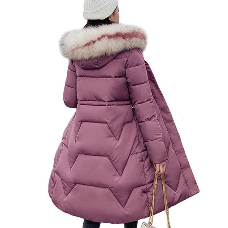 Elegant Big Fur Women Long Slim Winter Parkas Jacket Coat  New Thic... 9