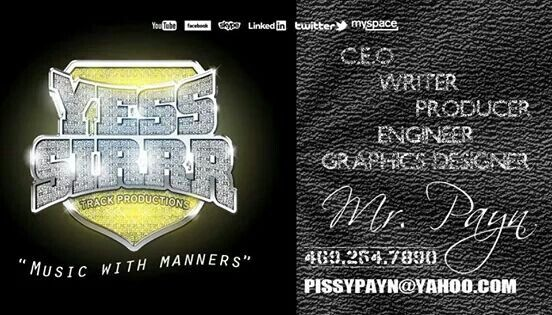"""Yess Sirrr Track Pro. was established in 2009 by C.E.O. Jonathan """"Cockswayze Boy King Payn"""" Thomas. Based in the Sunny South of Dallas, TX. Y.S.T.P. has been going full speed in this Music Business for quite sometime. Powered by a unique """"Family"""" atmosphere and a true Love for the Music, the Million Dollar Mission is to simply Take Over...By Any Means Available. The YSTP Artist roster consists of: King Payn, Willie Beaman, Off Tha Chain, Santiaga and of course The Oklahoma Kidd. The YSTP…"""