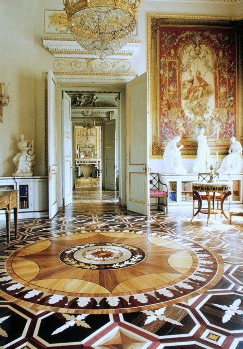 PAVLOVSK PALACE -near St Petersburg, Russia. What a floor!  The interior of the palace was designed by Empress Marie Feodorovna, wife of Tsar PAUL I . She lived there after the assassination of Paul in 1801, until her death in 1828.