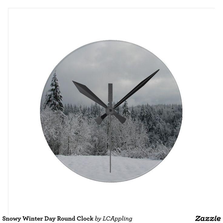 Snowy Winter Day Round Clock