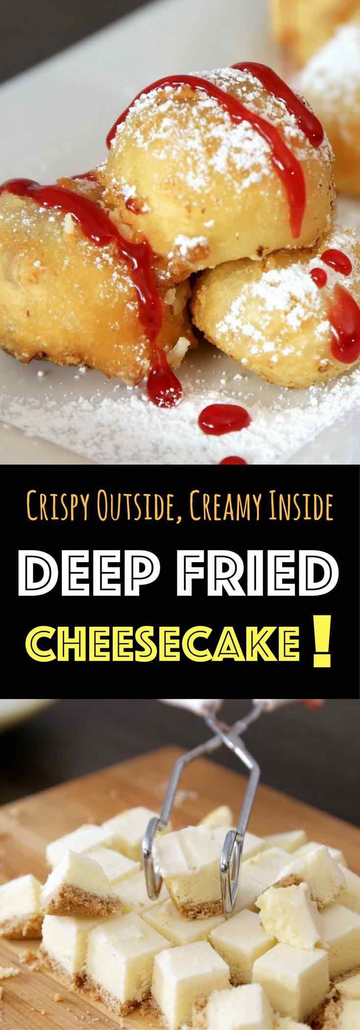 Crispy & Creamy Deep Fried Cheesecake – Crispy outside and creamy inside! you can't resist this delicious dessert made with your favorite frozen or leftover cheesecake. It only requires a few simple ingredients: flour, baking powder, salt, sugar, milk and oil. It's great for a party, cheat days or a midnight snack. So yummy! No bake dessert. Vegetarian. Video recipe. | tipbuzz.com