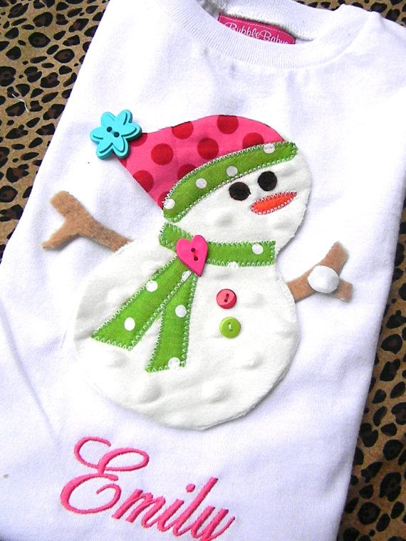 Personalized Plush Tiered Snowman Appliqued Christmas Shirt by Bubblebabys