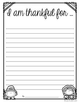 I am thankful for…Free Thanksgiving writing paper.                                                                                                                                                                                 More