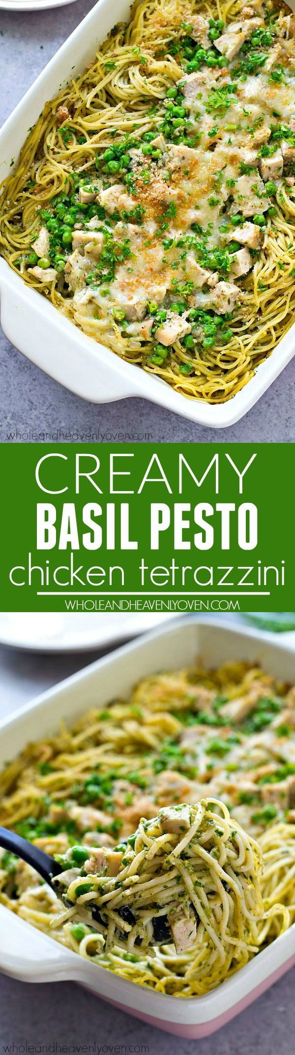 Classic pasta tetrazzini with a fun twist using basil pesto and chicken! This is the ultimately easy pan of comfort food that the entire family will adore.