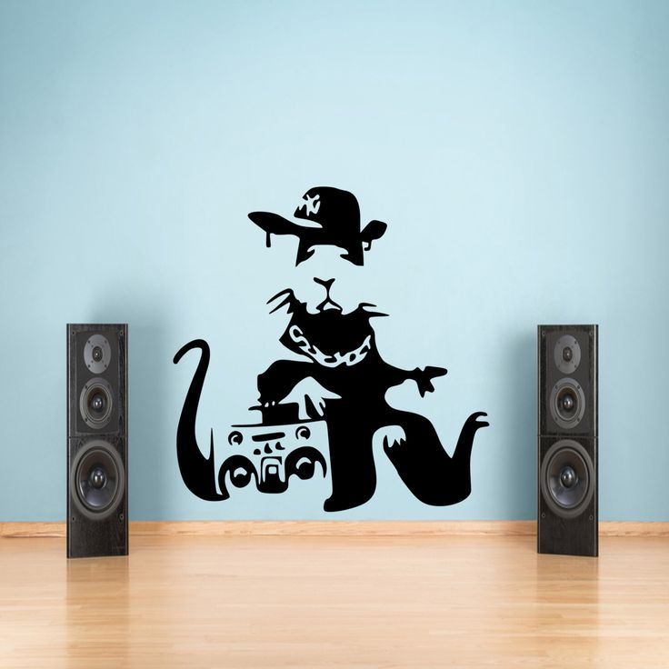 Banksy Rat Music Graffiti Wall Decal Sticker Vinyl 55x80 by WWDecals on Etsy https://www.etsy.com/listing/188028595/banksy-rat-music-graffiti-wall-decal